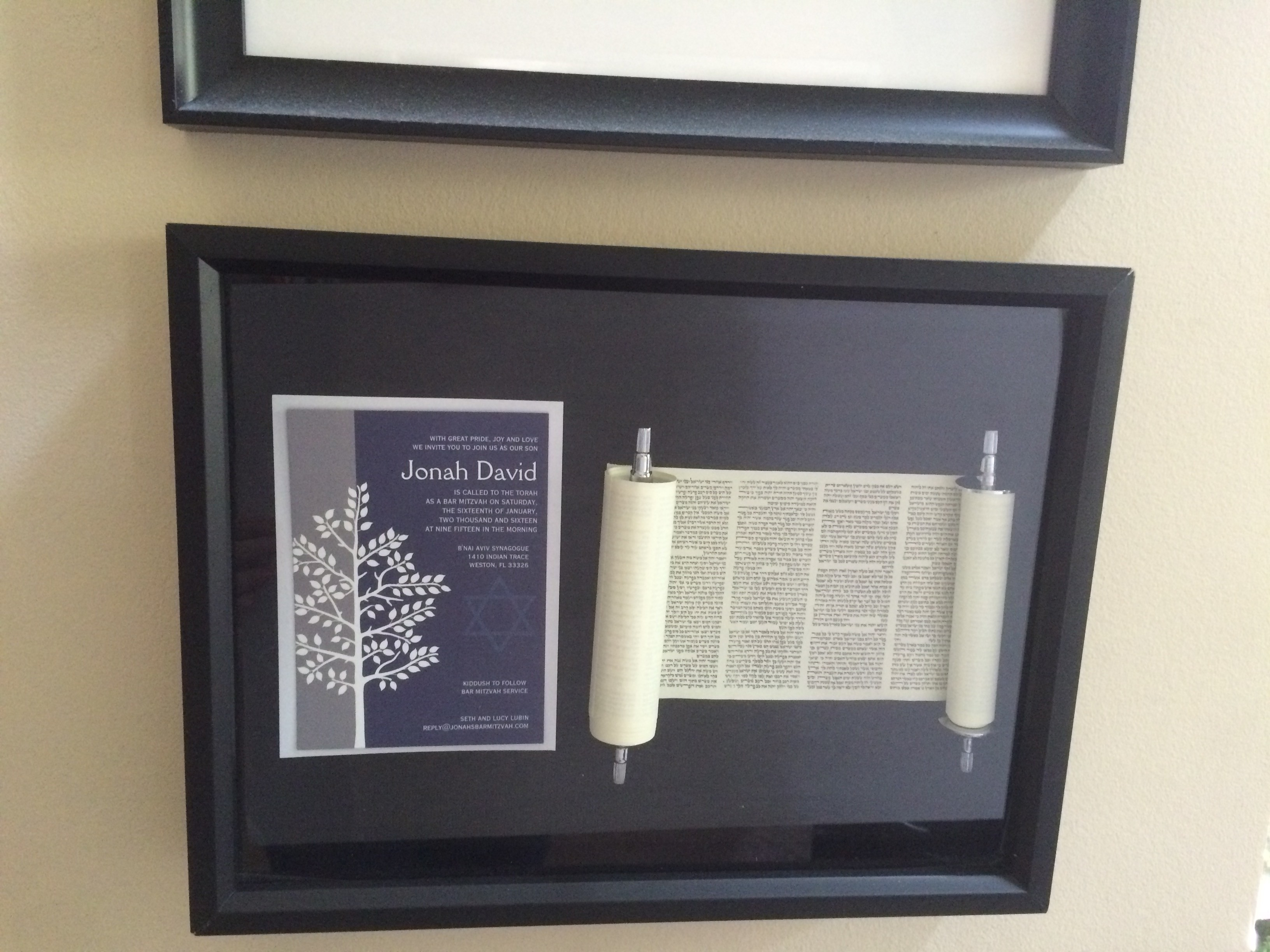 Completed DIY Bar Mitzvah Torah Keepsake